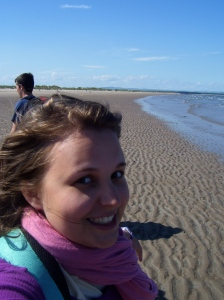 At the beach in St. Andrews where the running scene from Chariots of Fire was filmed
